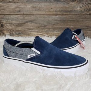New Vans Classic Slip On Suede Dress Blue Shoes
